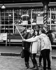 group selfie (matthew w mullins) Tags: seattle blackandwhite streetart love washington candid streetphotography pikeplacemarket