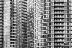 Gap Between Two Buildings (Mabry Campbell) Tags: windows blackandwhite toronto ontario canada detail building green monochrome architecture facade buildings photography photo pattern photographer image fav50 may nopeople fav20 photograph april 100 24mm fav30 f71 condominiums fineartphotography 2015 colorimage commercialphotography fav10 fav40 fav60 photograhphy fav80 fav70 200sec tse24mmf35lii mabrycampbell april92015 20150409h6a5097