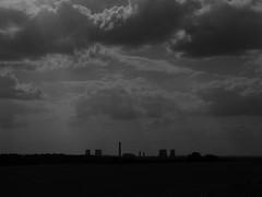 Charcoal Rain (mdavidford) Tags: light sky blackandwhite silhouette clouds industrial power horizon towers electricity rays generation chimneys coolingtowers hyperbolic didcotpowerstation littlewittenham didcota