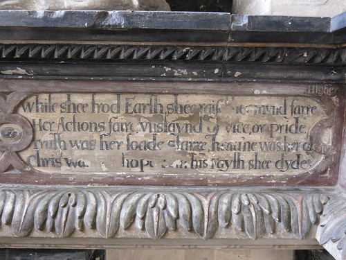 Inscription below monument to Miss Grissell Barnardiston (d.1609)