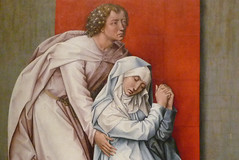 Van der Weyden, The Crucifixion, with the Virgin and Saint John the Evangelist Mourning, detail with John and Mary (close)