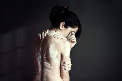 Masaje recibido (ngela Burn) Tags: 2 girl youth self nude back hands paint skin surreal manos hb touching mensaje staedtler lpiz masaje