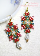 Floretta Earrings (BeeJang - Piratchada) Tags: pink red white green gold crystal handmade jet earring jewelry pearl swarovski earrings miyuki beading beaded beadwork beadweaving ab2x