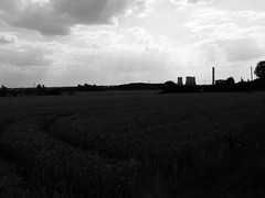 Chimney Sweep (mdavidford) Tags: light blackandwhite field industrial power towers tracks farmland electricity crops rays curve parallel generation chimneys tramlines coolingtowers hyperbolic didcotpowerstation sireshill didcota didcotasouth