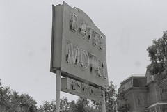 Bates Motel Sign (goodfella2459) Tags: white black film sign 35mm nikon tour motel psycho 400 hollywood plus hp5 alfred universal bates hitchcock studios milf ilford backlot f55