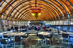 It's Gotta be the Best Love Song She Ever Heard in Her Life (TheMorganBurke) Tags: bridge food art window museum architecture modern open floor postmodern post crystal bridges ceiling walmart clear american arkansas marble cafeteria curved hdr walton bentonville