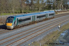 22008 passes Stacumny Bridge, 15/2/16 (hurricanemk1c) Tags: irish train rail railway trains railways irishrail rok rotem countykildare 2016 icr iarnród 22000 22008 éireann iarnródéireann 3pce dublintocork 1220portlaoiseheuston stacummybridge