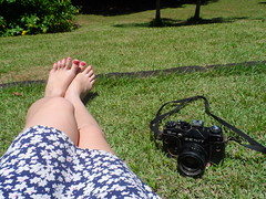 29/366 Peace and photography (JessicaBelotto) Tags: feet sol floral day foto ar relaxing dia days honey grama ps antiga zenit ao fotografia livre vestido cmera estampa fotografando 366 relaxando 366daysofhoney 366diasnoano