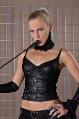 Sandy 19 (The Booted Cat) Tags: woman sexy girl leather model pants crop blonde whip mistress corsage leggins thigt