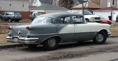 1956 Oldsmobile 88 4-Door Sedan, #2 (artistmac) Tags: chicago illinois gm general wheels il motors rocket southside 1956 88 v8 56 vacantlot 2tone oldsmobile grayandwhite generalmotors twotone eightyeight blackwall rocket88 wheelcovers 4doorsedan blackwalltires