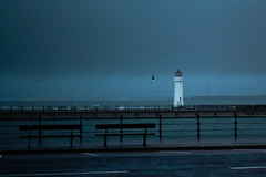 out of season (john g (Birkenhead UK)) Tags: leica winter sea cloud lighthouse rain weather river 50mm dawn waves waterfront sony promenade seafront summilux wirral newbrighton rivermersey dxofilmpack a7rii a7rm2