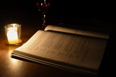f) Discover (Knowledge) (SaltyDogPhoto) Tags: light shadow dark photography reading book nikon warm candle wine study learning knowledge candlelight wineglass nikkor lowkey studying lightandshadow textbook discover nikonphotography nikkorafs1855 nikond7200 saltydogphoto