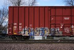 Gouls (quiet-silence) Tags: railroad art train graffiti railcar boxcar graff d30 freight ghoul fr8 a2m gouls crle crle119523
