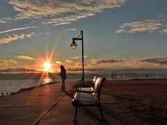 DSCN5779-2 (moon_hunter2014) Tags: sunset sky sun beach lamp clouds burlington vermont waterfront boardwalk