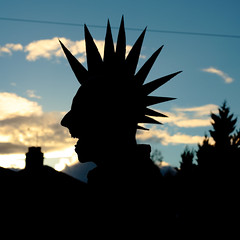 Spiky (seegarysphotos) Tags: trees chimney urban house man silly hair spiky laugh hairstyle daft joking mohican garylewis seegarysphotos