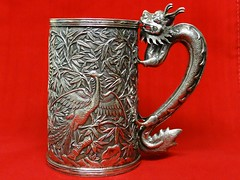China Trade Silver Dragon Handle Mug (c. 1860). By Sun Shing, Canton. With Phoenix in Bamboo on the body (lhboudreau) Tags: artcollection silver chinese mug cup export dragon dragonhandle sunshing repousse phoenix bamboo cantonchina 1860 drinkingcup flagon chinatrade antique yinyang everlastinglove fengshui maritalbliss perfectcouple yin yang love