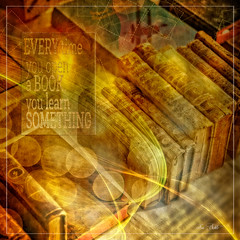 Old books (schlicht.karin) Tags: old art yellow collage gold book words bokeh learn textur