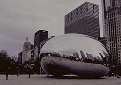 Dry (ancientlives) Tags: travel usa chicago night lights evening illinois spring fuji streetphotography april millenniumpark michiganavenue cloudgate thursday thebean 2016 23mm fujix100s