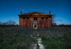 1913-1959 (GnarlyRelics) Tags: longexposure blue school light red sky usa moon lightpainting building abandoned night rural lost outside photography scary education nikon ruins closed long exposure paint texas open decay tx indian year country structure creepy full fullmoon spooky explore forgotten d750 behind left tamron 1959 1913 urbex 2470mm lightpaint rurex texploration