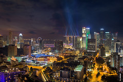 Singapore City Lights (David Gn Photography) Tags: city travel tourism rooftop skyline modern night river shopping lights hotel singapore southeastasia apartments cityscape realestate nightscape skyscrapers district central scenic restaurants property casino business entertainment laser cbd nightlife lightshow metropolitan beams condominiums clarkequay
