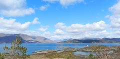 Mainland Mountain Panorama, from Plockton, West Coast of Scotland, April 2016 (allanmaciver) Tags: blue trees sky panorama lighthouse mountains water scenery shades viewpoint plockton torridon grandeur kishorn allanmaciver