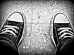 don't judge me till you've walked in my shoes... (Jackal1) Tags: street 2 texture feet trainers fabric converse material conceptual mylife laces floortiles onestepatatime dontjudgemetillyouvewalkedinmyshoes