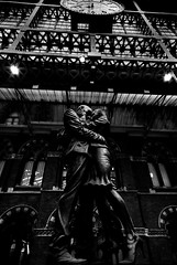 The Meeting Place (p.g604) Tags: england bw sculpture london station st statue paul blackwhite artist day place eurostar meeting railway terminal lovers brief pancras encounter the embracing