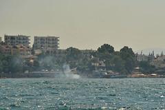 Smoking Coast Guard (Ed.ward) Tags: trees sea coastguard holiday turkey boat mediterranean apartments smoke palmbeach mediterraneansea 2015 aegeansea bodrumpeninsula nikond700 nikonafzoomnikkor80200mmf28ed gullluk