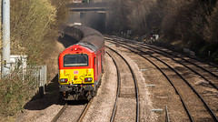 """DB Class 67 no 67015 brings up the rear of """"The Maybach Yorky"""" Charter from Derby to York at Chesterfield on 10-04-2016 (kevaruka) Tags: england sun color colour heritage history colors sunshine station yellow composition train canon flickr colours derbyshire traction rail railway sunny trains historic retro telephoto western april 5d locomotive railtour frontpage britishrail chesterfield sunnyday maybach 400mm 2016 d1015 tapton networkrail dieselhydraulic class52 canon5dmk3 railcharter 5dmk3 canonef100400f4556l 5d3 5diii thephotographyblog taptonbridge canoneos5dmk3 telephototrains themaybachyorky 10042016"""