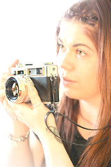 She can flash wild eyes... (pentlandpirate) Tags: camera portrait girl smile teeth daughter electro yashica borednoway