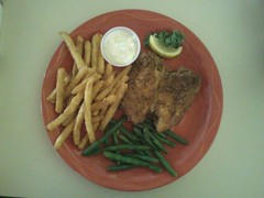 Fried Swordfish Dinner (d-1@bellsouth.net) Tags: dinner lunch florida frenchfries crescentbeach greenbeans fried swordfish southbeachgrill