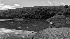 Fishing the Reservoir (Gordon-Shukwit) Tags: california winter blackandwhite landscape drought stevenscreekreservoir sonya7rii