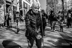 Funky Granny (Franois Escriva) Tags: street people bw woman white black paris france outdoors photo noir candid champs elyses streetphotography style funky nb granny rue blanc