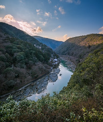 Mountains of Kyoto (ErikFromCanada) Tags: trees sky mountains color colour reflection beautiful clouds river view hiking sony highcontrast valley vista majestic epic sunsetting lateafternoon settingsun a7r