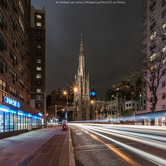 Grace Church (DSC04483) (Michael.Lee.Pics.NYC) Tags: longexposure newyork night sony broadway gracechurch lighttrail traffictrail voigtlanderheliar15mmf45 a7rm2