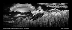Afternoon with the Sawback Range, Banff National Park, Alberta (kgogrady) Tags: trees blackandwhite bw panorama canada mountains clouds landscape blackwhite spring nikon afternoon pano noone sunny ab nopeople alberta infrared banff peaks nikkor dx banffnationalpark parkscanada mountainrange canadianrockies 2016 westerncanada canadianmountains d80 sawbackrange canadiannationalparks canadianlandscapes cans2s albertalandscapes canadianrockieslanscape