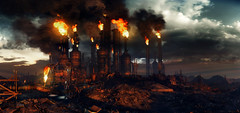 Gas Town (Sspektr) Tags: panorama death dawn pc screenshot disaster videogame madmax wasteland postapocalypse madmaxgame