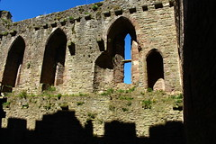 Ruins and shadows Ludlow Castle (Eddie Crutchley) Tags: england sunlight castle outside ruins europe shropshire medieval ludlow ludlowcastle historicbuilding