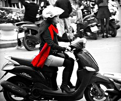 Black White & Red (Alex88 (All Images Taken By Me)) Tags: red girl boots scooter vietnam heels hanoi picmonkey