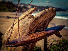 Driftwood Homemade (Sand of Bidart) Tags: ocean wood sculpture france art beach outside surf raw waves sable shift driftwood tilt vagues plage pays basque inspiring flou beachart bois bidart artiste flotte rx100