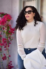 GWC_5827 (GirlWithCurves) Tags: flats curlyhair plussize highneckblouse highwaistjeans skinnyjeands taneshaawasthi