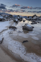 Sand Harbor with a little Ice (Richard Thelen) Tags: lake art nature digital canon landscape dusk laketahoe sierra sandharbor notalaketahoenudebeach