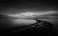 Deep Stillness (Breakwater, Harwich Port) [explored 5-Jan 2016] (ascholtz101) Tags: longexposure winter sea blackandwhite bw water monochrome clouds dark ma outdoors mono blackwhite rocks moody seascapes cloudy capecod massachusetts overcast wideangle monochromatic shore beaches serene lowkey seashore dri harwich superwideangle breakwaters dynamicrangeincrease ndfilters ultrawideangle exposureblending harwichport nantucketsound neutraldensityfilters silverefexpro nikond7200 nikcollection adobephotoshopcc tokina1116mmf28atx116prodxii andrewscholtz ascholtz101 formatthitechfc77nd48 adobelightroomcc tokina1116mmf28atx116p