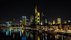 Frankfurt Skyline by Night! (Captain Bembel) Tags: city bridge light tower by skyline night river dark lights darkness frankfurt main bank commerzbank mainufer