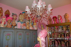 A peek into... (Primrose Princess) Tags: pink mannequin doll chandelier kenner blythe takara dollhouse pinkheaven vintagemannequinhead frenchantiquearmoire dollydreamland 972kennerblythe custommadefrenchtableandchairs golddisplaycase