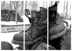 Boots Triptych (Fluff Tater) Tags: blackandwhite monochrome collage triptych boots chainsaw stihl