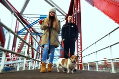 Nutbush city limits (plot19) Tags: street bridge family red portrait people dog love fashion pose manchester photography olivia britain sony aaron salfordquays lucky teenager liv british salford fasion rx100 plot19