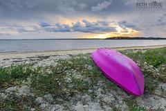 The Pink Canoe (Beth Wode Photography) Tags: sunset seascape beach beth canoe stormyclouds coochie moretonbay stormysunset wode coochiemudloisland bethwode mauvecanoe