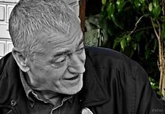 Curro (Franco DAlbao) Tags: portrait bw man fuji retrato bn relative hombre curro pariente selectivo dalbao francodalbao