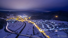 Hausach in the Black Forest at night (Nolle15) Tags: above schnee winter light mountain black mountains nature fog forest de deutschland wolken aerial berge schwarzwald aerialphotography langzeitbelichtung luftaufnahme schneelandschaft badenwrttemberg hausach kinzig kinzigtal dji